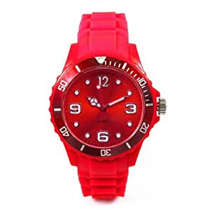 Montre Watch Color - bracelet silicone - cadran 4,3 cm - disponible en 13 coloris - couleur rouge