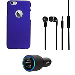 NIROSHA Cover Case Car Charger Headphone for Apple iPhone 6 - Combo
