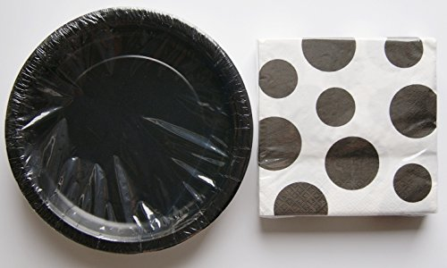 Children's Party Supplies Party Dinner Kit - Black Dot