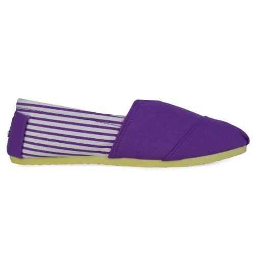 T1A BARGAIN Ladies Canvas Purple Classics Flat