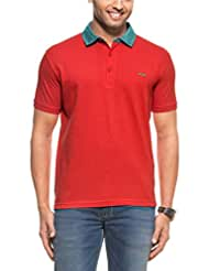 Zovi Men's Cotton Flag Red Solid Pique Knit Polo T-shirt With Contrast Striped Collar (11050106801)