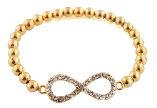 Ladies Gold  Clear Stones Infinity Style Shamballah
