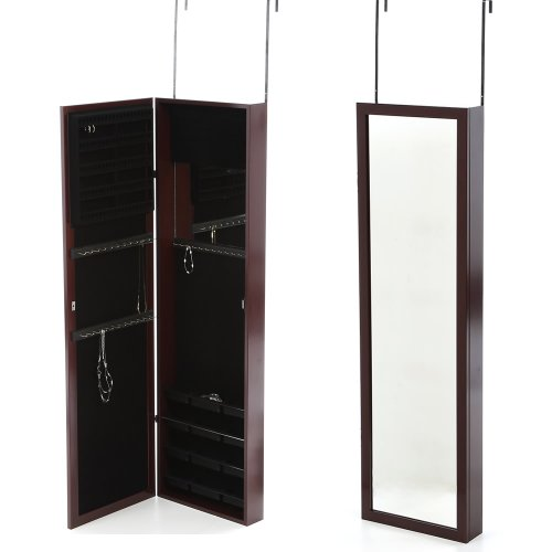 Premium Jewelry Organizer Mirror Armoire Box Over Wall Cabinet Mirrored Cherry Color Sale Made In Usa