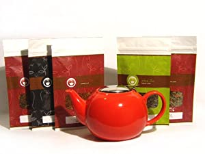 Christmas Holiday Red Ceramic Infuser Teapot and Holiday Flavored Loose Leaf (Looseleaf) Tea Sampler Gift Set Kit (incl. five 2 oz. specialty teas) (Bundle - 6 items)