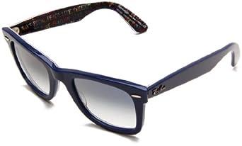 Ray-Ban Wayfarer 10923F Wayfarer Sunglasses,Top Blue On Texture Typedelic Frame/Crystal Gradient Light Blue Lens,One Size