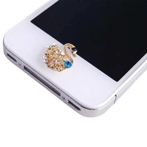 Swan Gold Blau Weiß Twinkle Glänzend Bling Strass Glitter Handy-Schmuck Home Button Sticker Aufkleber für Apple iPad 16GB / 32GB / 64GB iPad 2 16GB / 32GB / 64GB iPhone 1st Gen 4GB / 8GB / 16GB iPhone 3G / 8GB / 16GB iPhone 3GS /16GB / 32GB iPhone 4 16GB / 32GB iPhone 4 - Verizon 16GB / 32GB iPod Touch 1st Gen 8GB / 16GB / 32GB iPod Touch 2nd Gen. 8GB / 16GB / 32GB iPod Touch 3rd Gen 32GB / 64GB iPod Touch 4th Gen 8GB / 32GB / 64GB