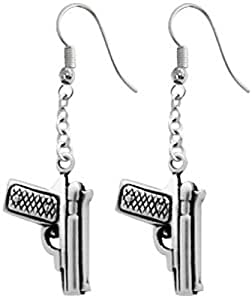 Dan Jewelers Pistol Handgun Pewter Earrings