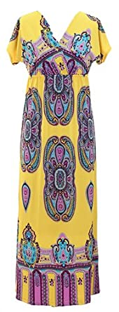 Peach Couture Exotic Tahiti Multicolor Border Print Maxi Dress (Small Yellow)