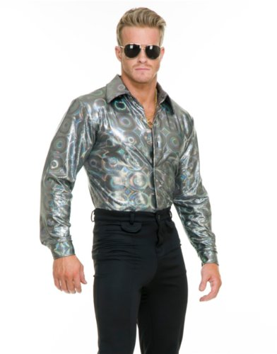 Mens Adults 70s Metallic Silver Circles Print Disco Shirt
