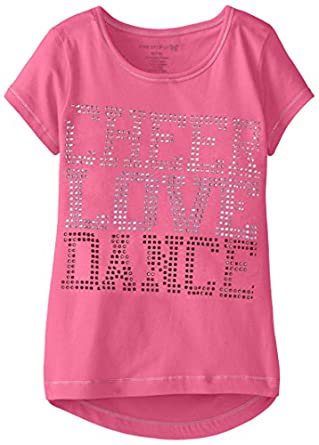 One Step Up Big Girls' Love Dance Studded Top, Coral Berry, Medium