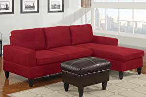 3 pc red microfiber apartment size sectional