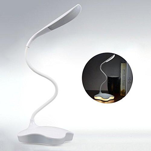 Ultralleicht-LED-Energiesparend-Tischlampe-USB-Warmwei-Nachtlicht-Dimmbar-5W-120Lumen-wei-Leselampe-5500K-6000K-14-CREE-LEDs-Tragbar-Tischleuchte-360flexibel-Buchlampe-mit-Touch-Dimmer-und-USB-Aufladu