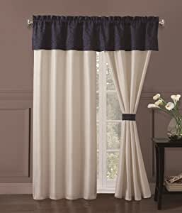 Luke Embroidered Curtain Set Navy White