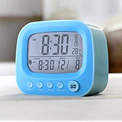 Best-mall 3.5 Retro TV Clock Desktop Bedside Lazy Snooze Silent Alarm Clock with Night Light And Thermometer(Blue)