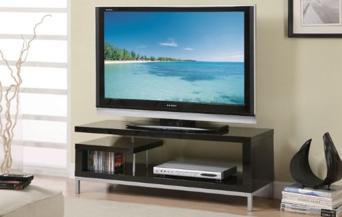 Image of Contemporary TV Stand with CD Shelf in Black Finish (F4430)