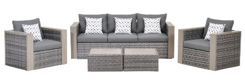 Atlantic 5-Piece Mustang Wicker Conversation Set with Grey Cushions image