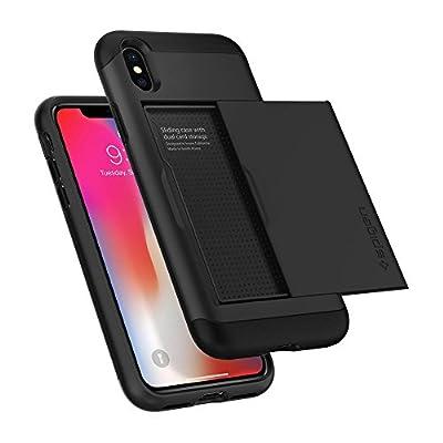 【Spigen】 スマホケース iPhone X ケース 米軍MIL規格取得 耐衝撃 IC カード収納 スリム・アーマー CS 057CS22155 (ブラック)