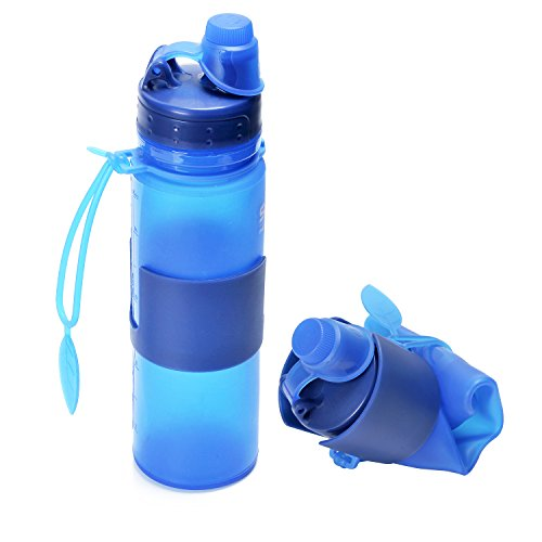 Augymer Sports Water Bottle, BPA-Free 18 Ounce Magic Silicone Portable Foldable Water Bottle For Camping Hiking Cycling Fishing Sailing Hunting Travel Office Home Kids And More (blue, 18oz)