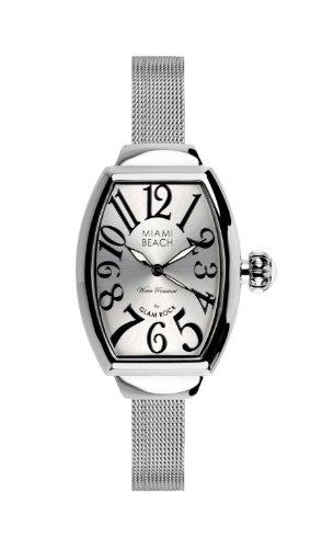 Glam Rock 0.96.3052 - Reloj analógico de cuarzo para mujer, correa de acero inoxidable color plateado