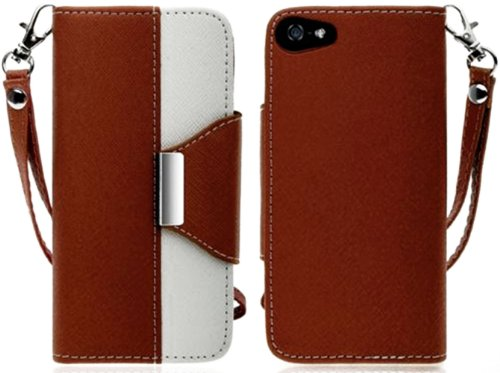 Mylife (Tm) Brown And White Classic Design- Textured Koskin Faux Leather (Lanyard Strap + Card And Id Holder + Magnetic Detachable Closing) Slim Wallet For Iphone 4/4S (4G) 4Th Generation Touch Phone (External Rugged Synthetic Leather With Magnetic Clip +