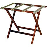 Wooden Mallet Deluxe Straight Leg Luggage Rack, Mahogany, Tapestry Straps