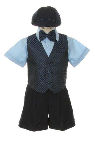 Dress Suit Shorts Outfit Set-Tuxedo-Bowtie,Vest, & Hat-Baby Boys, Sky Blue-Navy, 12 Months