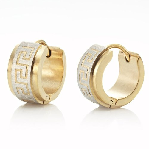 Impressive Stainless Steel Greek Style Mens Hoop Earrings Gold