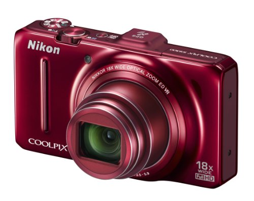 Nikon COOLPIX S9300 Compact Digital Camera - Red (16MP, 18x Optical Zoom) 3 inch LCD