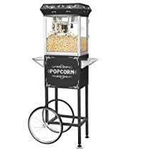 Great Northern Popcorn Black 4 oz. Ounce Foundation Old-Fashioned Popcorn Popper and Cart
