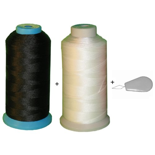 (2 spool) Item4ever® Black & White V-207 T210 Bonded Nylon Sewing Thread for Outdoor, Leather. Upholstery
