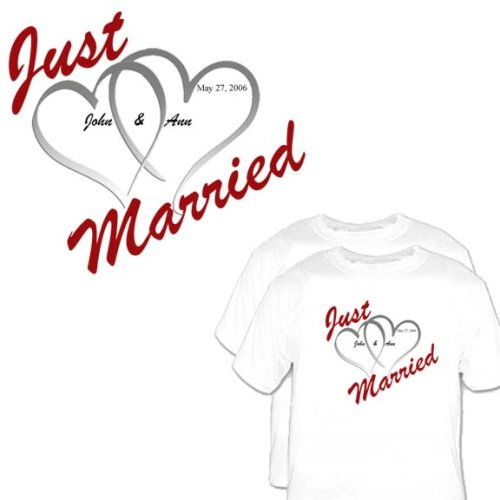 2 Just Married T Shirts for Bride/ Groom Great Bridal Shower Gift Honeymoon Clothing, Wedding T shirts TackyT Clothing