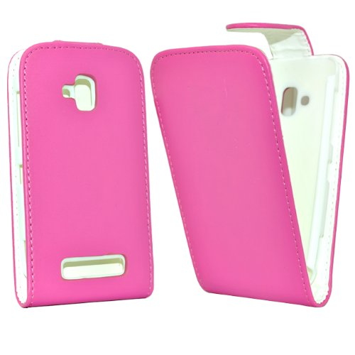 24/7 Kaufhaus - Rosa Elegantes Leder Etui / Pouch / Tasche für Nokia lumia 610