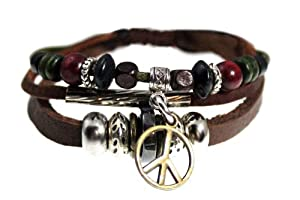 Peace Drop Genuine Leather Zen Bracelet - Adjustable, Fits 5.5 to 8 Inches, for Men, Women, Teens, Boys and Girls in Gift Box