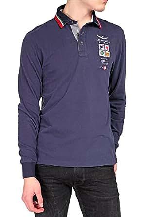 Aeronautica Militare Long Sleeve Polo Shirt, Color: Dark blue, Size: L