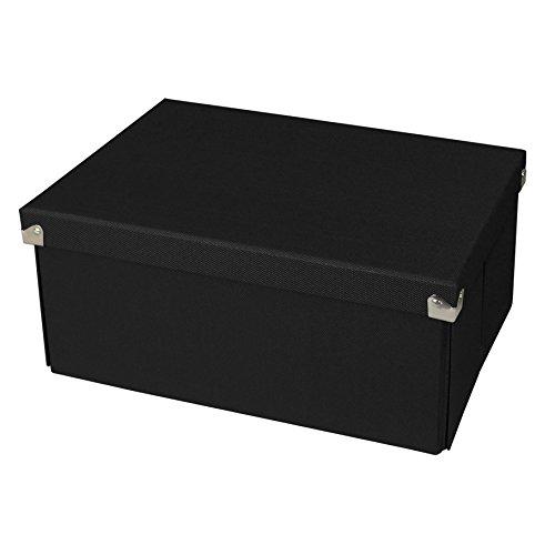 Pop n' Store Decorative Storage Box with Lid – Collaspible – Medium Document Box – Black – 13″x6″x9.5″