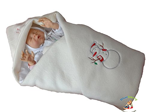 BlueberryShop LUXURIOUS FLEECE VERY WARM Swaddle Wrap Blanket Sleeping Bag baby shower GIFT PRESENT 0-3m ( 0-3m ) ( 78 x 78 cm ) Cream Xmas