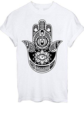 Hamsa Hand Tattoo Khamsa Protection Symbol Aztec Eye Men Women Unisex T-Shirt Top -Medium