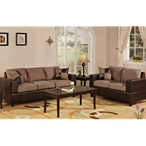 Bobkona Seattle Microfiber Sofa and Loveseat 2-Piece Set in Saddle Color