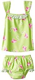 i play. Baby Girls\' Tankini Set with Built-In Swim Diaper, Lime, 24 Months