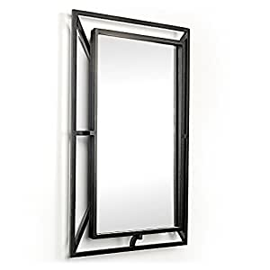 D 39 Vontz Wrought Iron Mirror Black Powder Coated Wall Mounted Mirrors