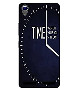 Case Cover Time Slogan Printed Navy Blue Hard Back Cover For Lenovo A6000