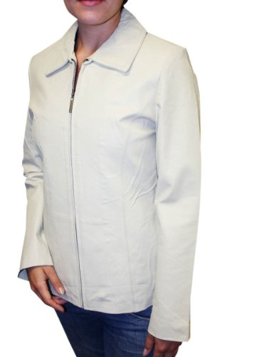 Women's Basic Soprts Genuine Leather Jacket Zipper Closure-Style 301