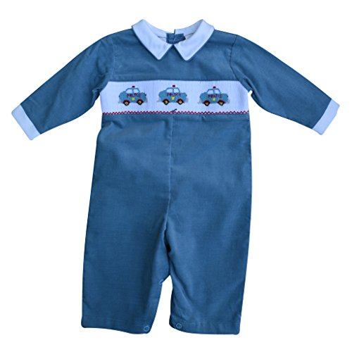 Baby Boy's Hand Smocked Longall - Blue Corduroy - Police Car
