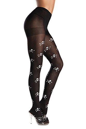 Costume Adventure Women's Black Skull and Crossbones Pirate Pantyhose Tights
