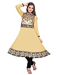 Manvaa Cream & Black Georgette Anarkali Embroidered Suit
