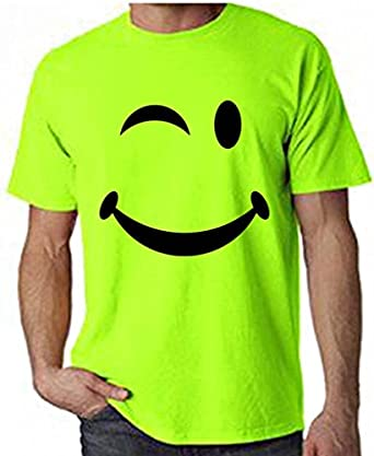 Winking smiley neon t shirt choices of colour amazoncouk