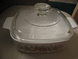 Corning Ware 1 Quart Covered Casserole Dish with Vegetable Design