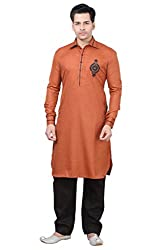 Emuze Mens Ethnic Kurta Payjama Rust Color- FCKS_1106_RT_40