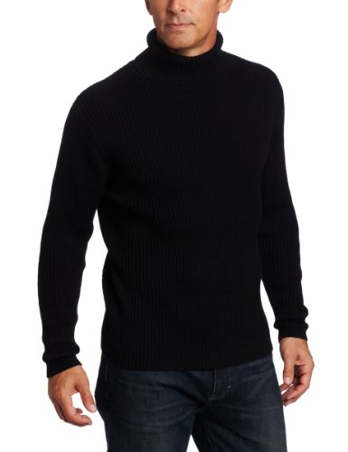 Alex Stevens Men's Ribbed Turtleneck, Black Tie, Large