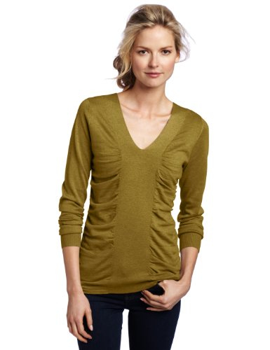 Lilla P Women's Cotton Modal Cashmere Long Sleeve Ruched Center V-Neck Sweater